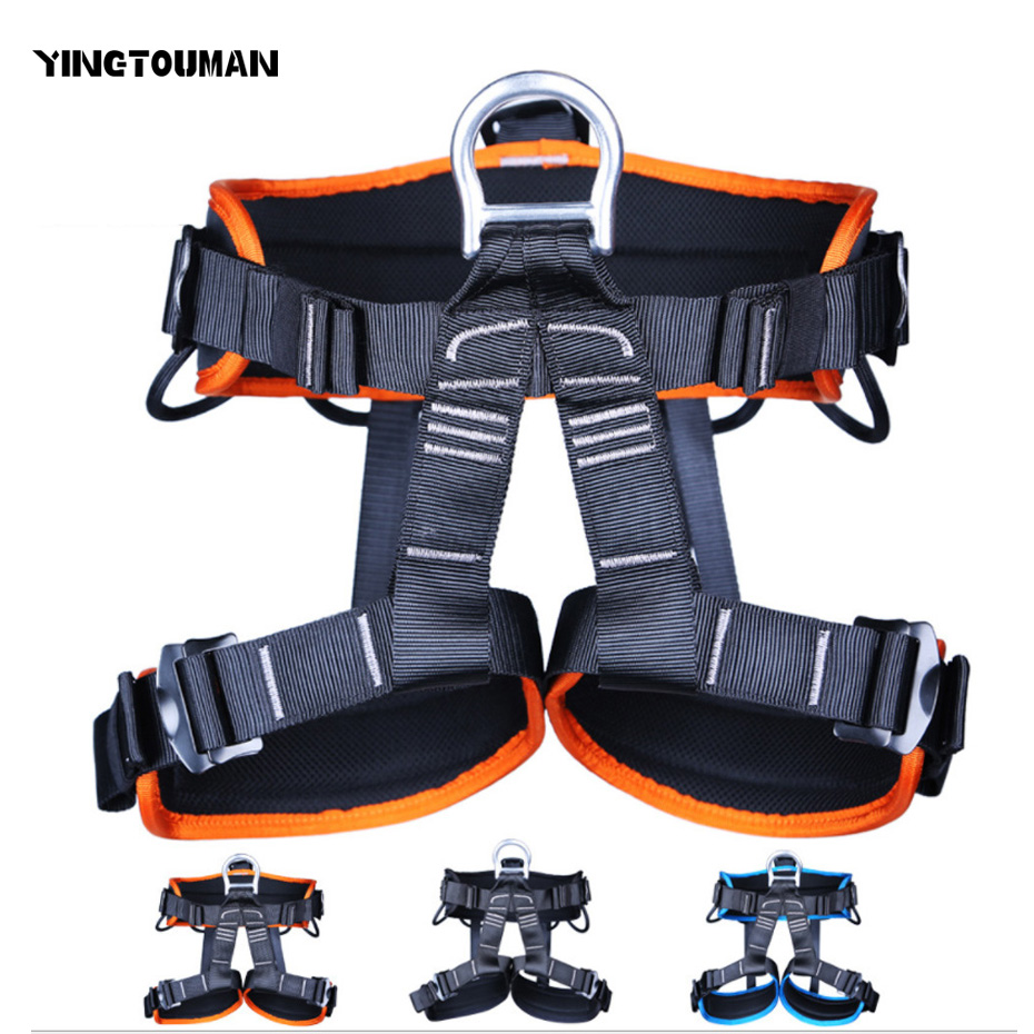 YINGTOUMAN Sell Well Safety Belt Harnesses Outdoor Seat Belt Rock Climbing Mountaineering Belt Safety Belt Climbing Equipment 25kn professional carabiner d shape safety master lock outdoor rock climbing buckle equipment