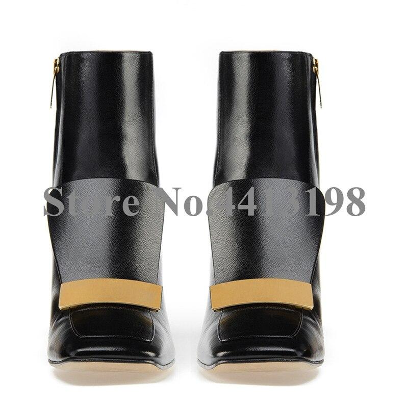 Européenne Décoration Cheville Chaussures Courtes Hoof En Mode Pour Métal As Casual Carré De Automne Bottes Toe Talons Picture Femmes Zip Noir rASEfrc