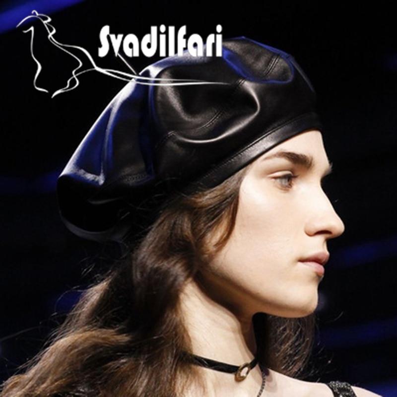 Svadilfari 2018 New Winter Fashion Genuine Leather Sheepskin Cap Painter Beret All match Female Star Real
