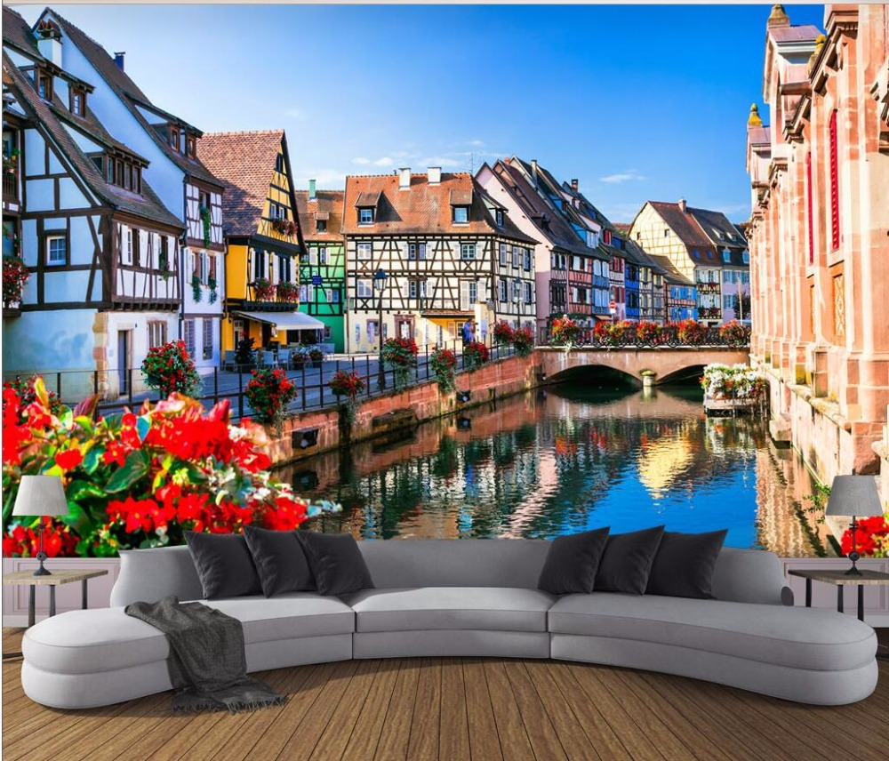 3d wallpaper Custom photo mural France Alsace landscape picture room decor painting 3d wall mural wallpaper for walls 3 d custom photo 3d wall murals wallpaper mountain waterfalls water decor painting picture wallpapers for walls 3 d living room