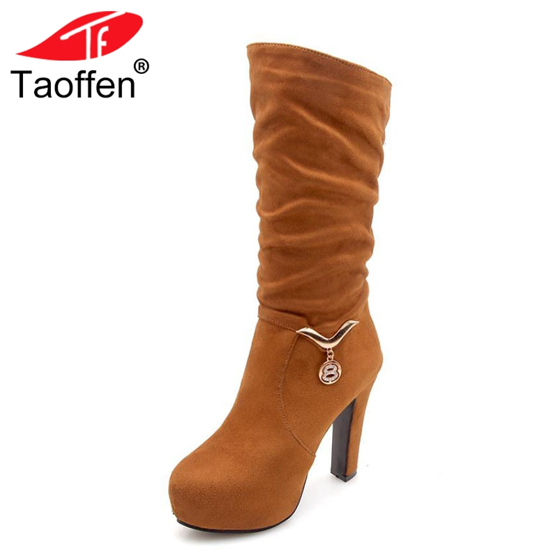 TAOFFEN Size 34-43 Women Knee High Boots Platform Crystal Winter Shoes Women's Fashion Warm Fur High Heels Boots Lady Footwear taoffen women high platform shoes patent leather star lady casual fashion wedge footwear heels shoes size 33 48 p16184