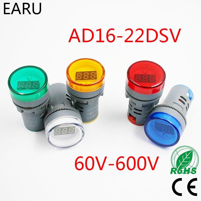 Droking AC 60~600V Mini Volt/ímetro Digital AD16-22DSV Indicadores de Se/ñal de Prueba de Voltaje Monitor Rojo Verde Amarillo Pantalla LED Port/átil comprobador de Voltaje