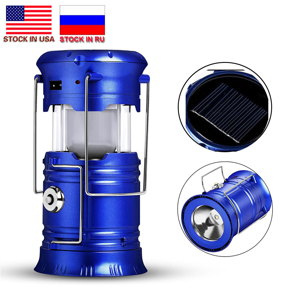 ZK20 livraison directe Rechargeable Lumière De Camping 6 Led Solaire Lanterne De Camping Tente pour Extérieur Lampes Stock en NOUS, RU