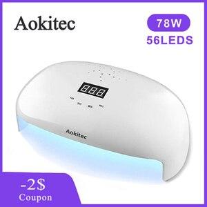 Aokitec 78 Вт/36 Вт Сушилка для ногтей УФ светодиодная лампа Гель-лак отверждение инфракрасный датчик таймер Смарт ЖК-лампы дисплея для маникюра ...