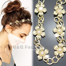 Bridal Gold Flapper Daisy Flowers Pearl Crown Chain Head Hair Dress Piece Band Jewelry Party 2018 New