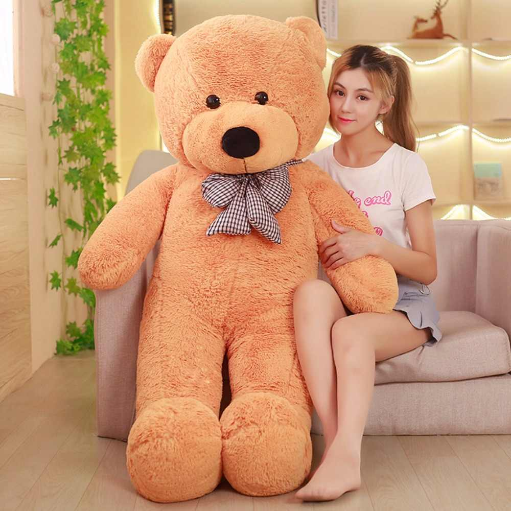 80/120 cm 7 renk oyuncak ayı peluş oyuncaklar doldurulmuş hayvanlar PP Pamuk ayı bebek çocuk bebek doğum günü yastık Minder mavi