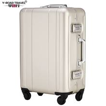 Y-Road Travel Trolley Luggage Suitcase 100% Aluminum Shell Case With TSA Lock Hardside Rolling Luggage Suitcase With Wheels