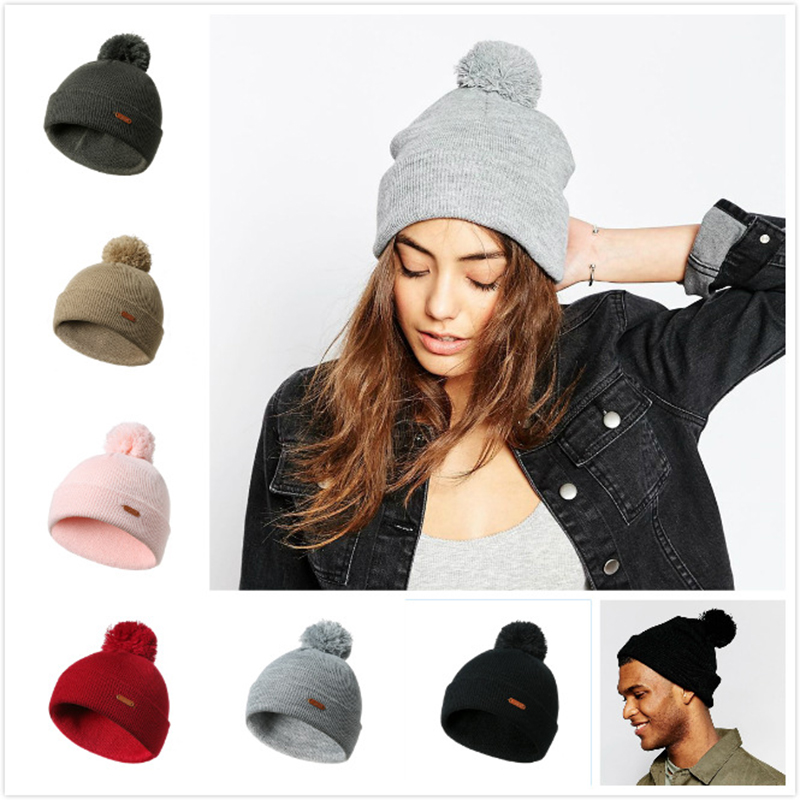 Women Knitted   Beanie   Winter Cotton bonnet femme Warm Hat female Hat Men Caps Girl Pompom   Skullies     Beanies   Winter Hats for Women