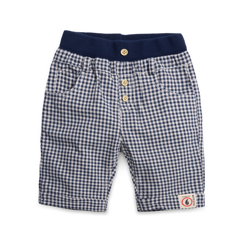 Summer Children Fifth-Pants Kids Clothes Casual Knee-length Trousers Plaid Baby Boys   Shorts   For Age 1-8 Years Old