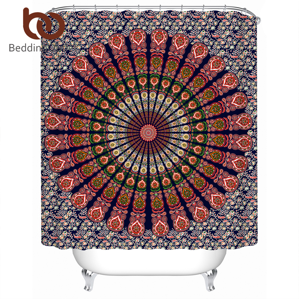 BeddingOutlet Boho Mandala Shower Curtain Polyester Waterproof Floral Bath Flower Orange With Hooks Banheiro 180x180cm