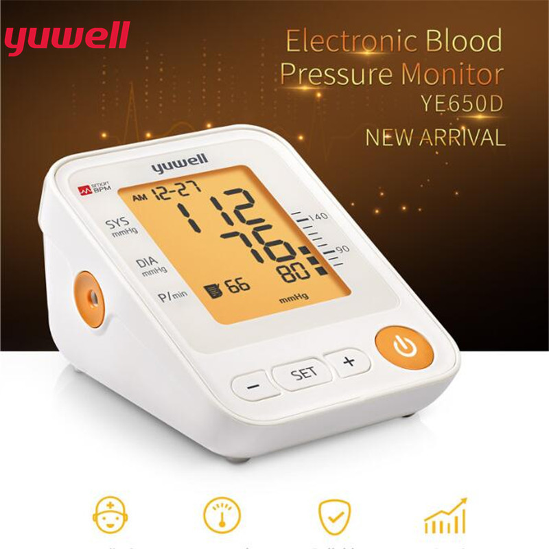 Yuwell 650D Arm Blood Pressure Monitor LCD Digital Heart Rate Meter Measure Automatic Monitor Home Health Equipment Care