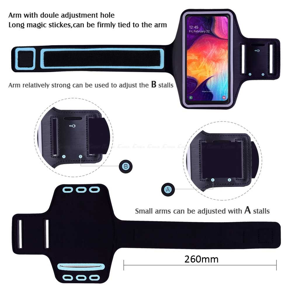 Blue Sports Armband Phone Case Cover Gym Running For Samsung Galaxy A90 5G