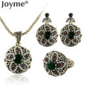 Joyme Vintage African Indian Jewelry Set Round Flower Necklace Sets Retro Gold Crystal Stones Wedding Earrings Rings For Women