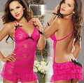 2016 New Arrival Sexy Lingerie Rose Pink Backless Halter Women Babydoll Sleepwear Dress Free Shipping