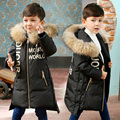 2016 Girls/boys Down Jacket Winter Long Jackets Children Outerwear Coats Fashion Big Collar Solid Pockets Thick Warm Overcoat