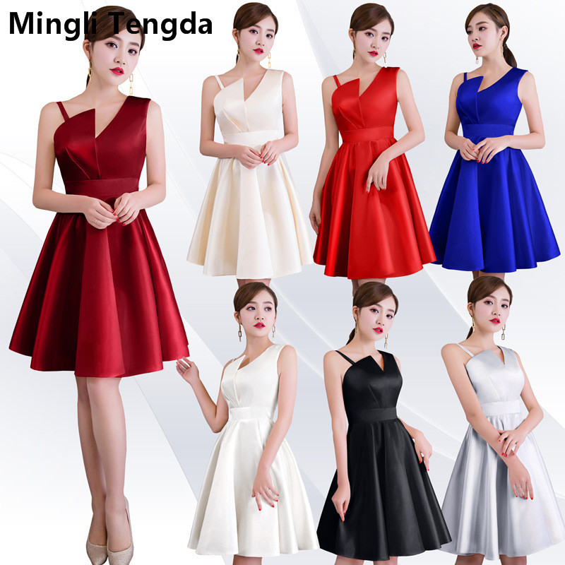 Mingli Tengda Blue Satin   Bridesmaid     Dress   Wedding Party   Dress   Elegant Women Spaghetti Straps   Dress   Simple Red   Bridesmaid     Dresses