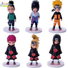 12CM 6Pcs/set Naruto Kakashi Sasuke Akatsuki Uchiha Itachi Cute Set action Figure PVC collection Toy naruto action figure dolls