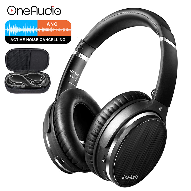 OneAudio Active Noise Cancelling Headphones Wireless Bluetooth Headset Over Ear Stereo APT X Low Latency ANC Headphone With Mic