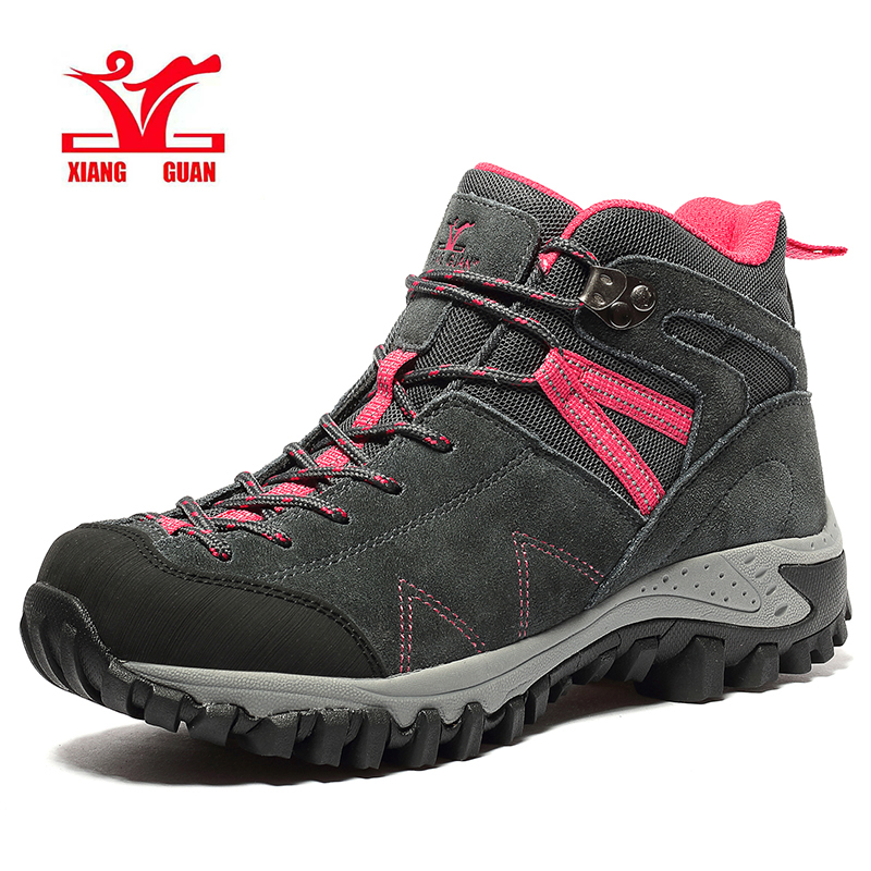 XIANG GUAN Womens Hiking Shoes Purple Cow Suede Mountain Boots Waterproof Leather Climbing Walking Sneakers Breathable