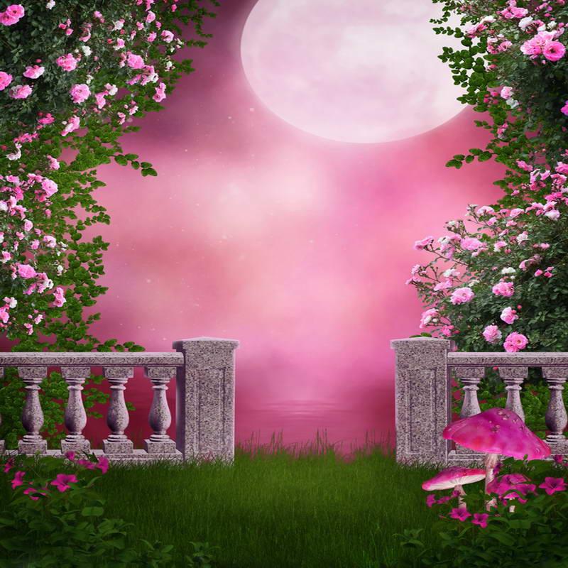 10x10FT Hot Pink Sky Moon Flowers Branch Gate Grass Garden