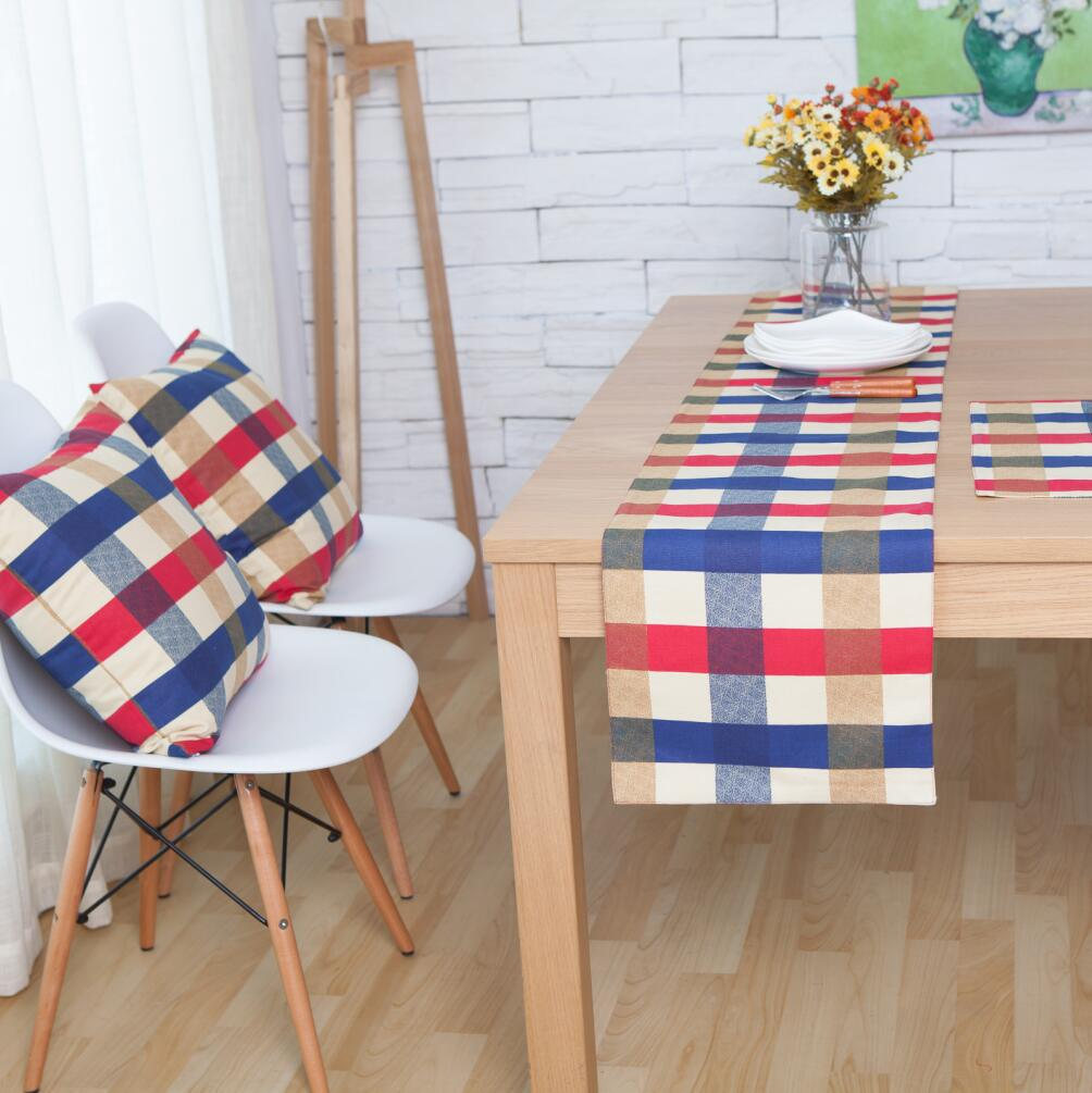 High Quality 100%cotton Red Blue Beige Lattice Table Runner Single Floor/double Table Flag, Meal Mat, Cushion Cover European