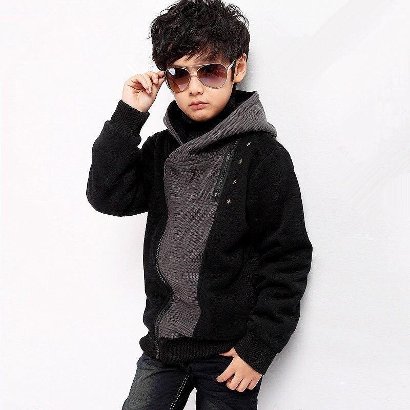 Children's Clothing Boys Hoodies & Sweatshirts 2018 Autumn New Fashion Hooded Patchwork Plus Velvet Boy Outwear Coat 140 170