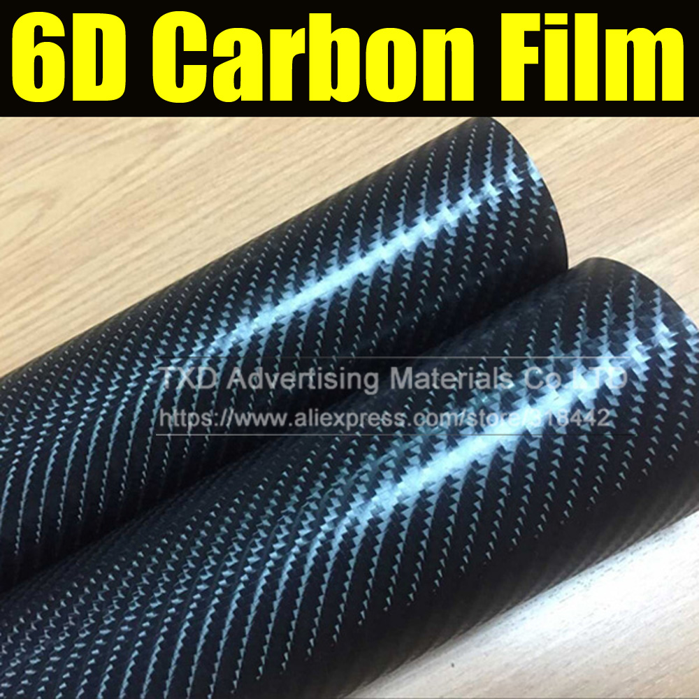 30x152cm lot glossy black big texture carbon fiber film 6d carbon vinyl sticker for wrap with air free bubbles by free shipping