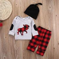 3PCS Set Newborn Baby Girls Boys Clothes Set Tops T Shirt Long Pants Hat Casual Baby