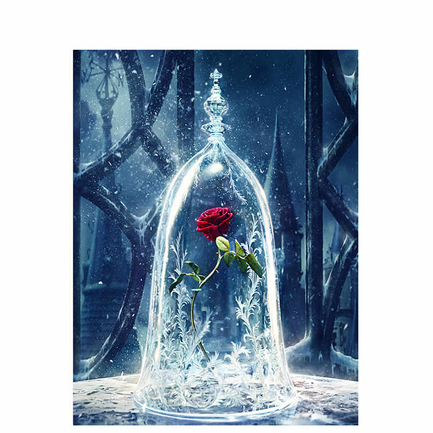 DIY Digital Painting By Numbers Package The bottle rose oil painting mural Kits Coloring Wall Art Picture Gift frameless