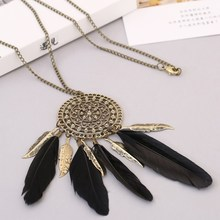 Bohemian Feather Design Tassel Necklace