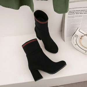 Image 3 - Big Size 9 10 15 boots women shoes ankle boots for women ladies boots Matching color round head thick with sleeve