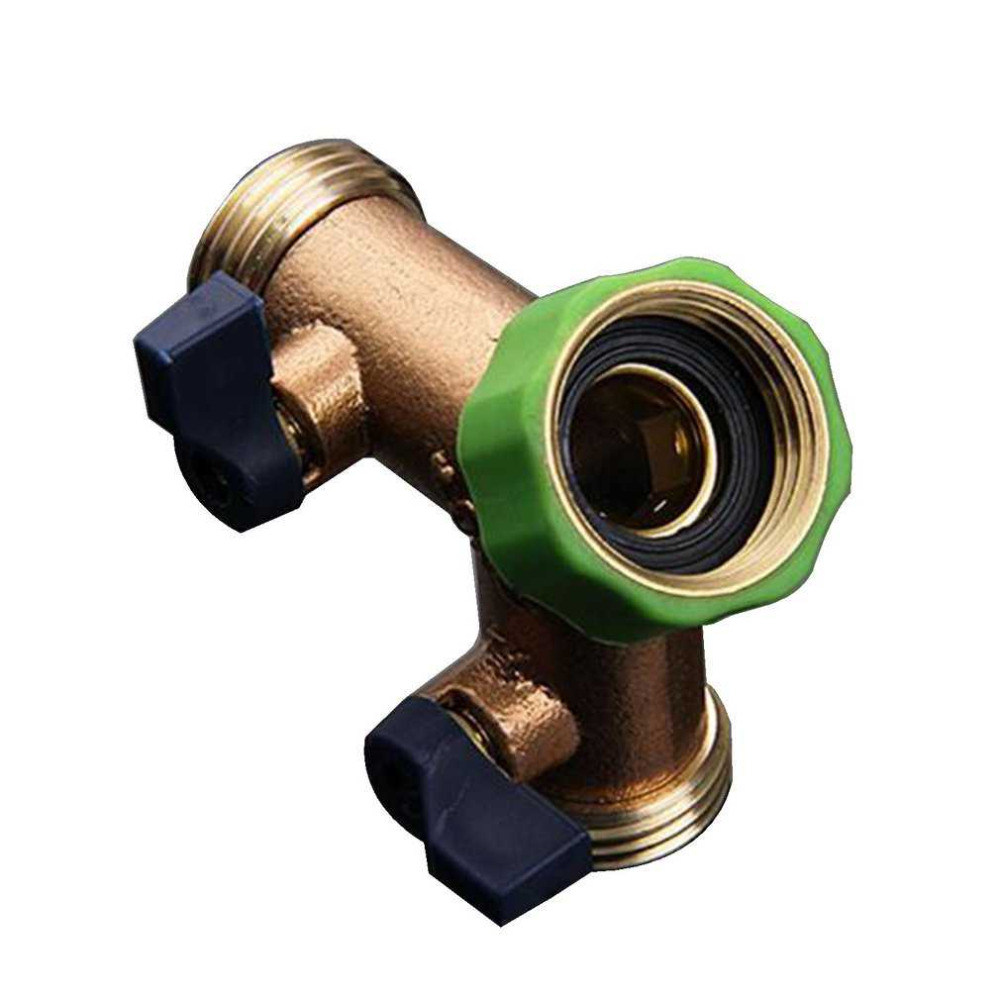Water Hose Pipe Connector 2 Way Y Type Switch On Off Valve Fitting Adapter Garden Agriculture