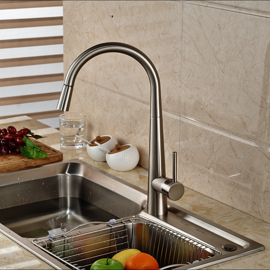 Nickel Brushed Pull Out Kitchen Faucet Sink Mixer Tap Single Handle Hole Deck Mounted Hot and Cold Water classic pull out kitchen mixer tap of single handle single hole kitchen faucet with hot cold solid brass kitchen sink water tap