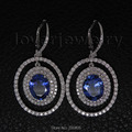 NATURAL BLUE AAA NATURAL TANZANITE FULL CUT SPARKLY DIAMOND 18K WHITE GOLD EARRING E116