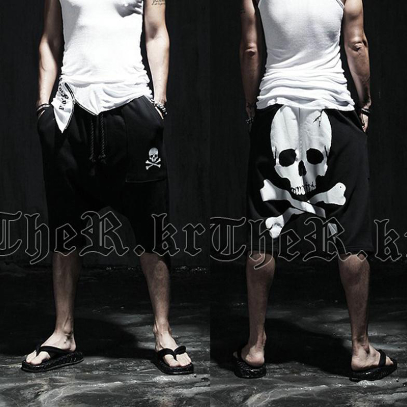 New 2020 Summer Skull Male Calf-Length Printed Pants Mens Slim Hip Hop Short Pants Mid Trousers Active Casual Loose Harem Pants