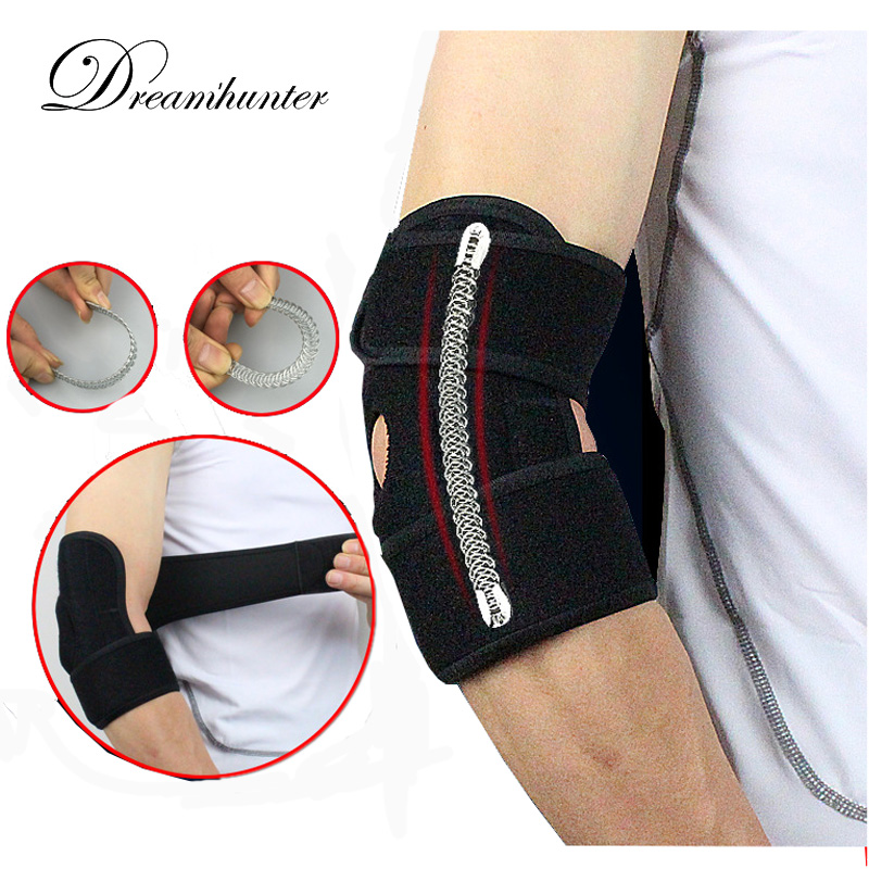 1 PC Adjustable Elbow Brace Wrap Strap With Spring Badminton Cycling Basketball Elbow Pads Arm Protectors Tennis Accessories no pain no gain breathable sports elbow 1 pc bandage basketball elbow pads support adjustable pads arm sleeve gym tqhz