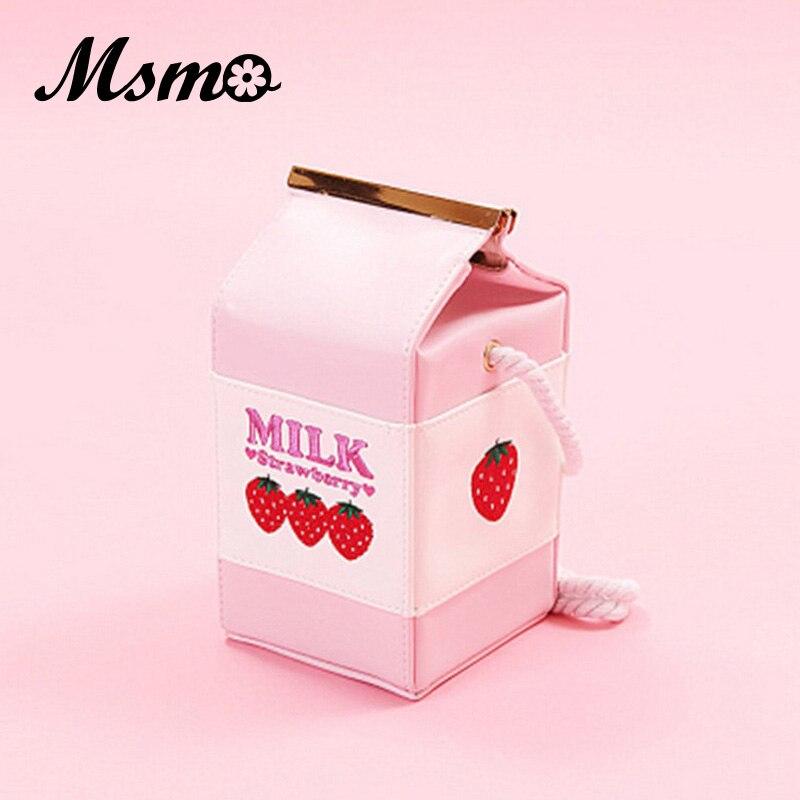 MSMO Strawberry Milk Bag Super Cute Milk Box Embroidery Strawberry Banana Cool Messenger Bag Soft Sister Milk Bag simulation banana apple strawberry shape squishy toys