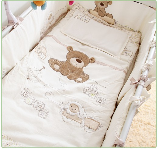 Promotion! 7PCS Embroidery Baby Bedding Set For Crib Newborn Baby Bed Linens For Bear Detachable ,(bumpers+duvet+sheet+pillow)