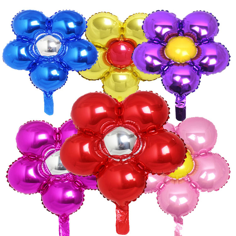 10 piece new arrival flower foil balloons lovely five disc for Bed decoration with flowers and balloons