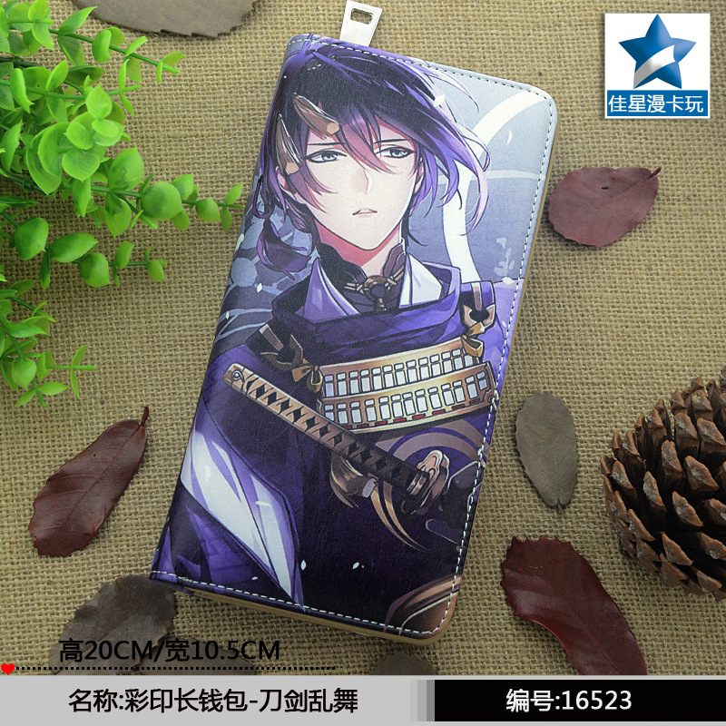 Japan Game Touken Ranbu Online wallet cartoon color printing women men wallet Long zipper purse