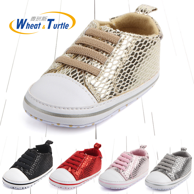 Mother Kids Autumn Spring Unisex Newborn Baby First Walkers Sneakers Lace-Up Mesh Sequins Soft Non-Slip Prewalker Toddler Shoes