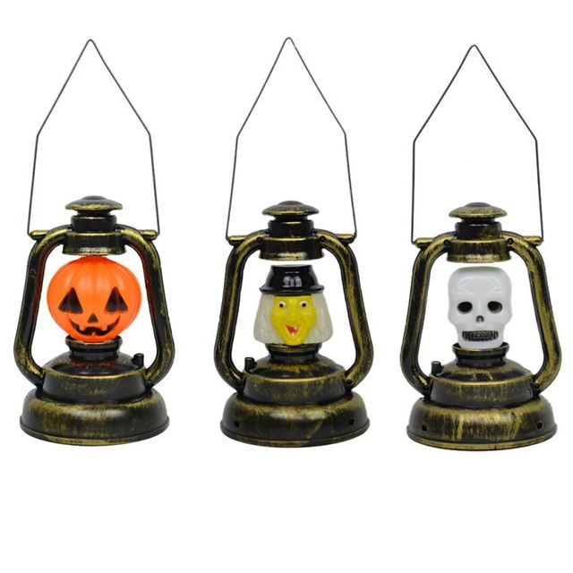 US $6 46 |Ghost Shout and Light Halloween Desktop Figurines Halloween  Pumpkin Witch Skeleton Kerosene Lamp Decor-in Party DIY Decorations from  Home &
