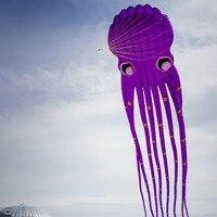 23 м 3D воздушный змей фиолетовый цвет трубчатой формы Parafoil Осьминог воздушный змей Ripstop нейлон мягкий воздушный змей Открытый Спорт весело п