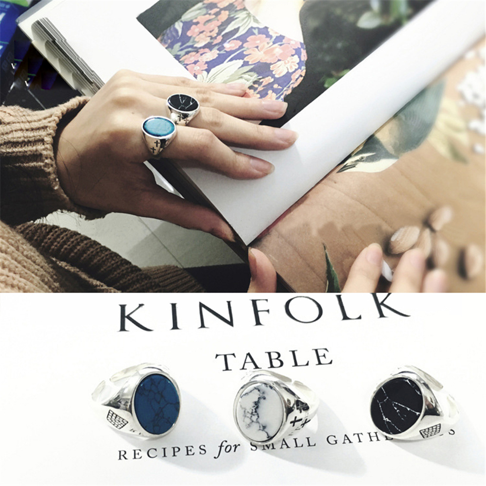 Knuckle Ring Real 925 Silver Tur-quoise Anillos Jewelry Vintage Minimalism Haut Femme Bague Femme Aneis Punk Rings for Women кольцо valen bela 925 aneis anillos feminino jz5020