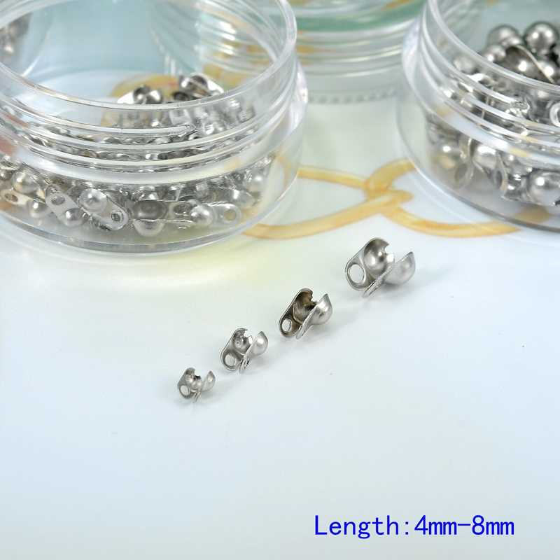 200-400 Pc/box Gesper Stainless-Steel 4/5/6/8 Mm untuk DIY Temuan Perhiasan Membuat gelang Rantai Gesper Aksesoris