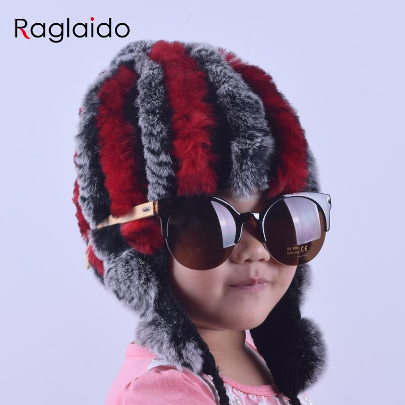 Raglaido Baby hat Winter Girls Snow Hats real rabbit fur hat Knitted Beanie Caps Accessories Warm Bomber Ears Child Hat LQ11178