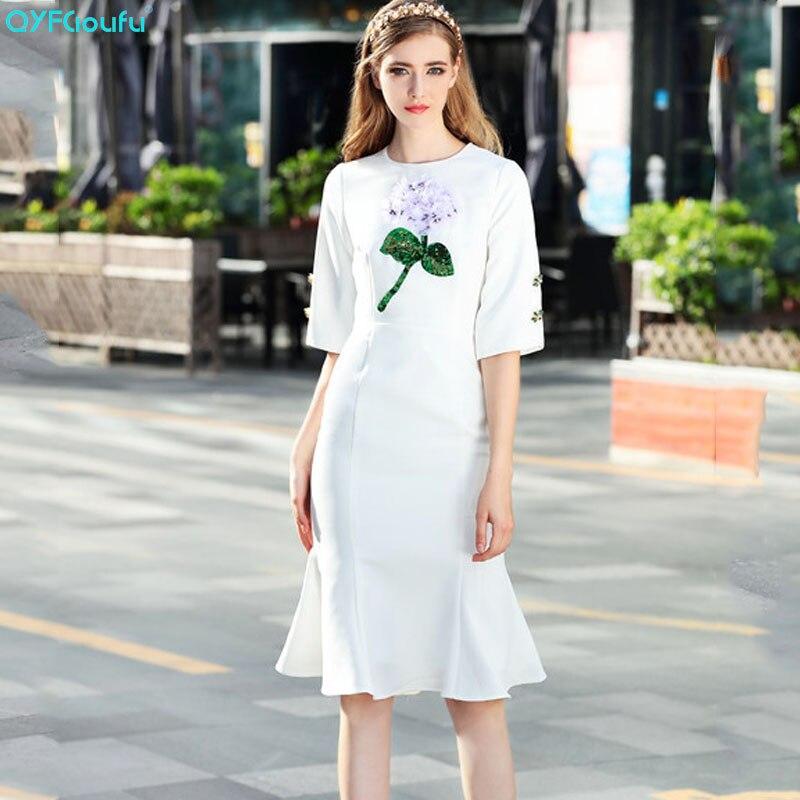 QYFCIOUFU New Arrival 2019 Elegant White Midi Dress Women Short Sleeve Runway Dress Designer 3D Flower Beading Fishtail Dress
