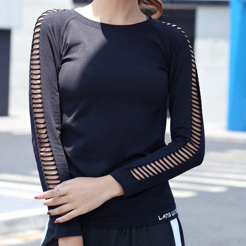 Yoga Shirts Fitness Tshirt Women Professional Yoga Sport Breathable Net Hole T Shirt Long Sleeves Hygroscopic Quick Dry Elastic Top Shirts Yoga