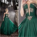 Dark Green Evening Dresses With Sheer Plunging V Neck A Line Beaded Floor Length Evening Gowns