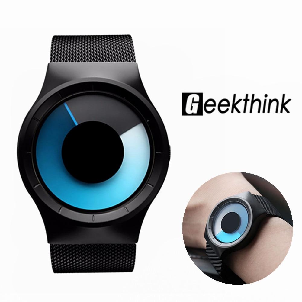 GEEKTHINK L6002 Quartz Watches Men Luxury Brand Casual Stainless steel Mesh Band Unisex Watch Clock Male female Gentleman gift